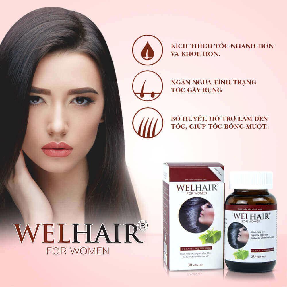 Viên uống Hỗ trợ giảm rụng tóc cho Phụ Nữ Welhair