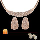 Bộ nữ trang mạ vàng đính đá trắng Swarovski SHOWME Nữ Hoàng Sa Mạc   TẶNG:  Đôi bông tai ngọc trai