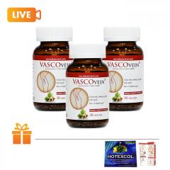 Bộ 3 hộp thực phẩm hỗ trợ giảm suy giãn tĩnh mạch Vascovein | TẶNG: 1 tuýp kem thoa Vascovein & 1 hộp kẹo ngậm Hotexcol