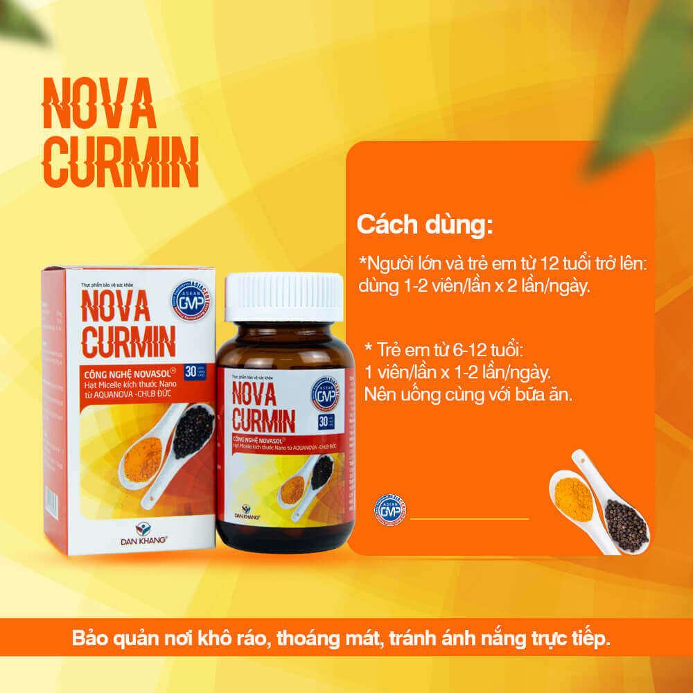 Viên uống Hỗ trợ giảm triệu chứng viêm loét dạ dày Novacurmin   Gs Shop