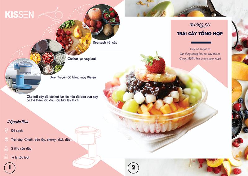 máy làm kem tuyết KISSEN cách làm món Bungsu trái cây tổng hợp VGS Shop